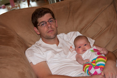 Daddy teaches Ellen all about lazy football Sunday afternoons