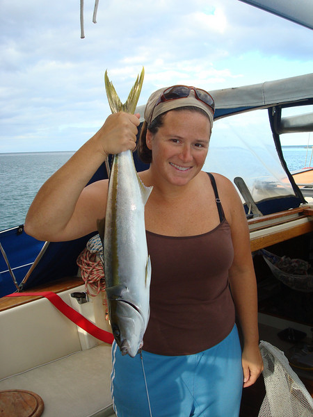 Christy caught a honking yellowtail right outside of La Ramada cove just north of San Juanico
