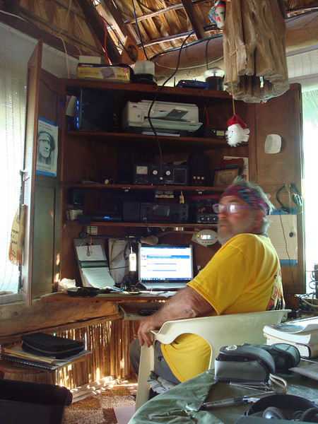 The infamous weatherman Geary at his high-tech Sea of Cortez weather station.