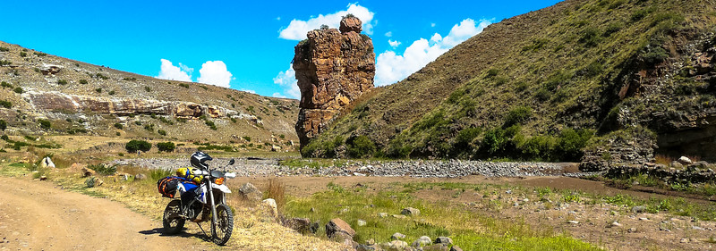 I have seen this rock on a few Lesotho Ride Reports and I really wanted a pic with my bike at this rock......Done! This rock is at the base of Mathabeng Pass