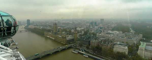 View from the top of the London Eye, it was November, so the weather was pretty crappy!