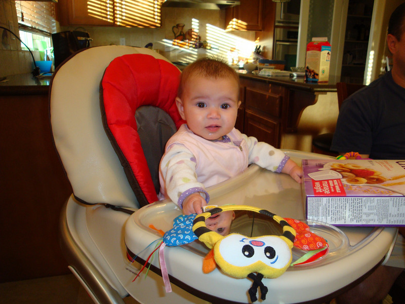 Breakfast in my new high chair.