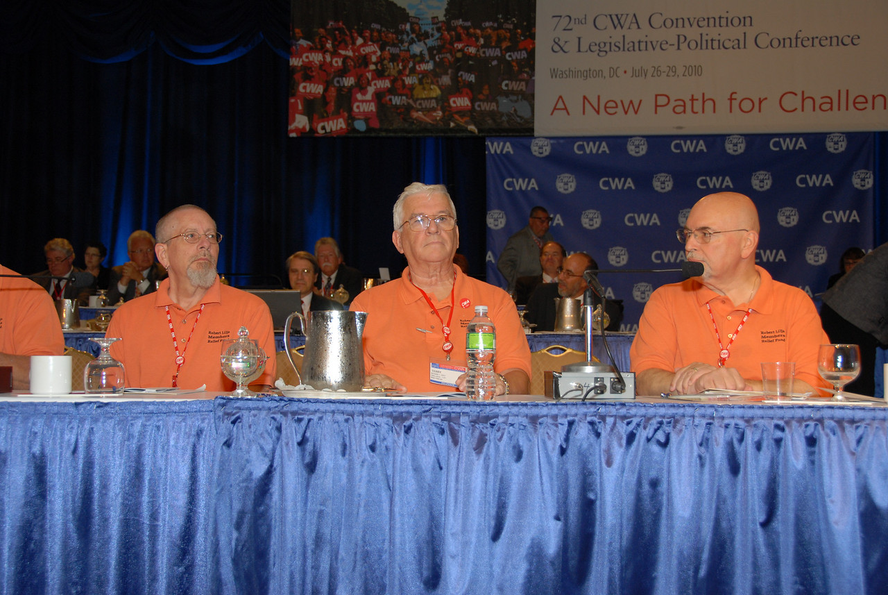 1101 Treasurer Terry Daly (middle) with the Defense Fund Oversight Committee (DFOC). Terry was elected at the Convention (one member is elected per district) to review all Defense Fund, Member Relief Fund and Strategic Industry Fund receipts and disbursements. Those elected report to the Convention. Terry was also elected by the District 1 delegates to the CWA Trial Court panel. There is one member per district in the country. Three members are selected to hear the charges against officers of Locals and render a decision as to guilt or innocence and an appropriate penalty if one is warranted.