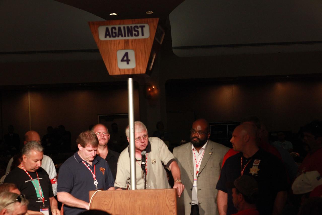 CWA 1101 Secretary Jim Trainor at the podium. Photo courtesy of CWA.