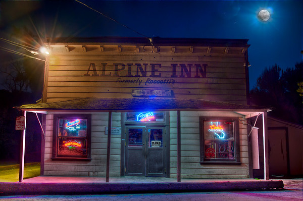 "Alpine Inn During Moonlit Night Taken on May 26, 2010 in Portola Valley, CA  Here you can see the original file after processing it in Photomatix Pro and Photoshop. I even applied some ""perspective"" fixing, but as you can see, the building still looks pretty skewed."