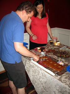 Rob serves the cake