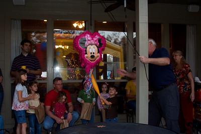 William takes a swing - Grandpa took care of the pinata rig