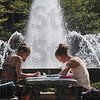 Tribune-Star/Joseph C. Garza<br /> Count 'em: Indiana State students Courtney Sims, 19, of Odon, and Kristin Wagner, 19, of LaPorte, study for  a nursing class near the fountain on the college campus Thursday.