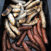 Brats: Detail photo of bratwurst at the Strassenfest Thursday afternoon.