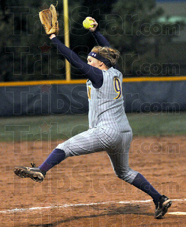 Fire: Sullivan pitcher #9, Rachel Whitlock throws to the plate during game action Thursday evening.