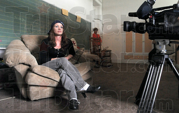 Recovering: Brandee Downs talks with a local televison station Sunday afternoon from the Freebirds facility. She is one of five women that have transfered to the facility from the Fellowship House.
