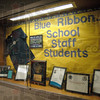 Detail: Blue Ribbon display at Quabache School.