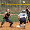Back in time: St. Mary's #12, Leah Miller heads back to second base during a pick-off attempt Friday afternoon. Rose shortstop #7, Meghan Canary waits for the ball and is being backed by #11, Kayla Yano.