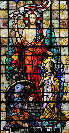 He is risen: One of the stained glass windows in the St. Joseph University Parish church depicts the Ressurection of Christ.