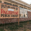 Tribune-Star/Joseph C. Garza<br /> Hope to have it open soon: Palestine, Ill., Public Library District board members Jim Kincaid and Sue Lockhart hope to have the new library open in June.