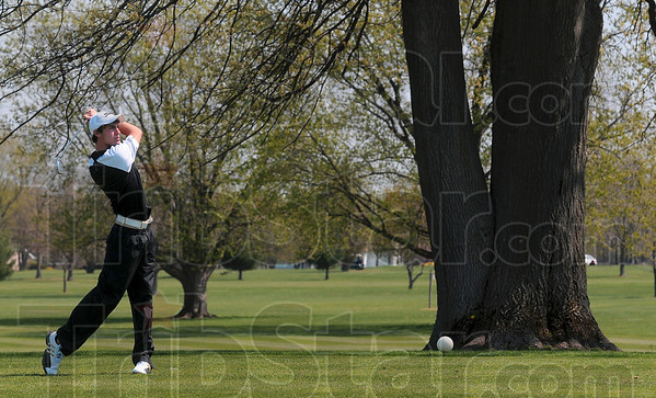 Tribune-Star/Joseph C. Garza<br /> Driven: South Vermillion's Brandon Bekkering watches his drive sail down the fairway Saturday at Forest Park in Brazil.