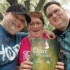 Happy daze: David Frey's brother Daniel (L), mother Carol Harder and father Ted Frey celebrate David's winning of a Dove Award.