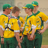 Settle down: North Central head baseball coach Darin Simpson, left talks with his pitcher Nolan Kinnett(6) during a rough stretch early in the Thunderbirds game with West Vigo Wednesday evening. Adding support are catcher Cole Johnson(27) and Connor Strain(13).