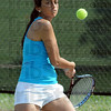 Intense: South's Eesha Purohit returns a shot during Wednesday's practice.