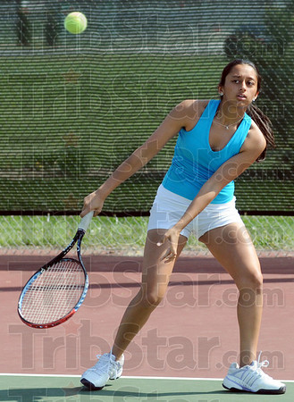 Return: South's Eesha Purohit returns a backhand during Wednesday's practice session.