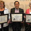 Honored: Melissa Scott Dr. Francis Tapia and Julie Agee recieved Frist Awards from their employer, Regional Hospital Wednesday. The awards are based on humanitarianism.
