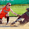 Out at second: Lady Tiger Alyx Hays tags West Vigo baserunner Allyson Walters out at second.