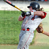 Powerball: Rose-Hulman's #3, Tim Tepe drives the ball for a base hit during game action against Anderson University Tuesday afternoon.
