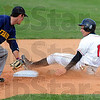 Safe: RHIT baserunner Michael Kovacs  safely steals second base, getting in before the tag of Franklin shortstop Nick Stoia.