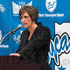 Tribune-Star/Joseph C. Garza<br /> Her vision: New Indiana State women's basketball coach Teri Moren discusses her philosophy on coaching during a press conference to introduce her as the team's new coach Tuesday at Hulman Center.