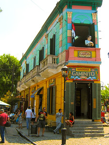Colorful buildings in the Caminito.  Lots of tango dancing for the tourists here.