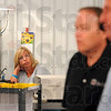 Tribune-Star/Joseph C. Garza<br /> He has one voter's attention: Glas-Col employee Lia Raymann listens as Glas-Col President Steve Sterrett and candidate for the U.S. Senate, Dan Coats, talk about health insurance during a press conference Thursday at the Seventh Street manufacturer of laboratory equipment.