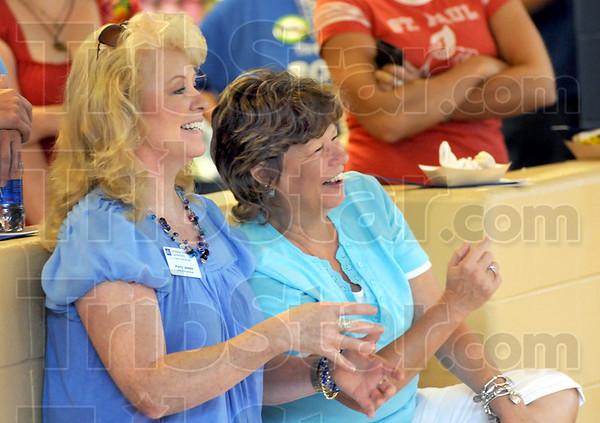 Good time: Indiana State University employees Patty Jones and Donna Scarbrough enjoy the events at the Student Rec Center Thursday afternoon.