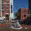 Good turnout: Spectators overflowed up Wabash Avenue and along North Seventh street to take part in the dedication and unveiling of Maz Ehrmann at the Crossraods Thursday afternoon.