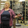 Book talk: Betsy Hine talks with Tribune-Star reporter Sue Loughlin about the collapse of shelving in the Cunningham Memorial Library Thursday.