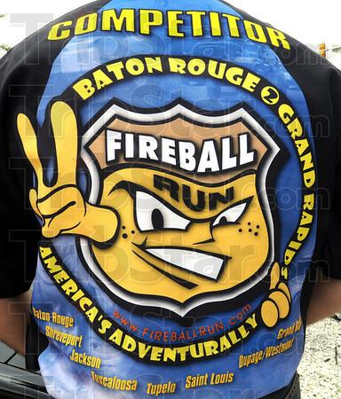 Fireball detail: Darrin Cooper wears his competitor's shirt from a previous Fireball Run.