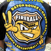 Fireball detail: Darrin Cooper wears his competitor's shirt from a previous Fireball Run.
