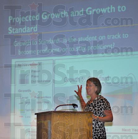 Growing plans: Mindy Schlegel, Senior Policy Advisor for the Indiana Deartment of Education, talks with Clay County educators Friday afternoon at Northview High School.