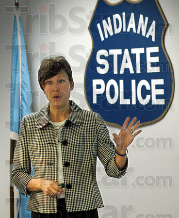 Web driven: Indiana State Police First Sgt. Niki Crawford talks about the new web driven investigative tool Friday morning at District #53 headquarters in Putnamville.
