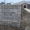 New look, old look: The signage from the old Booker T. Washington school has been brought to the new facility.