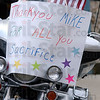 Heartfelt: Several motorcyclists were on hand for Sgt. Michael Harris' return home.