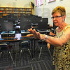 More space: Cinda Taylor, principal at Terre Town Elementary School talks about the additional computers available to the students.