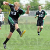 West Vigo's #23, Chris Rumple passes the ball to a teammate during Saturday's Soccer Jamboree.