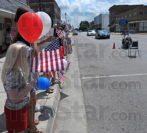 Welcoming party: Several Clinton residents, young and old, were on hand to welcome Army Sgt. Michael Harris home.