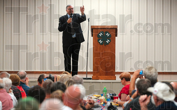Tribune-Star/Joseph C. Garza<br /> Tents, illegals and the pink underwear: Maricopa County Sheriff Joe Arpaio talks about his experiences with the media and their coverage of his law enforcement practices Saturday at the Sullivan County 4-H building.