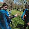 Tribune-Star/Joseph C. Garza<br /> Prepare for confrontation: Franklin Wood covers his forearm as he prepares to engage in a Dagorhir battle with his brother, Henry Wood, right, April 11 in Deming Park.