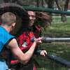 Tribune-Star/Joseph C. Garza<br /> Engaged in battle: Indiana State University student Mike Linder, a.k.a. Elindiel, of Charleston, Ill., faces an opponent during a Dagorhir battle in Deming Park Sunday, April 11.