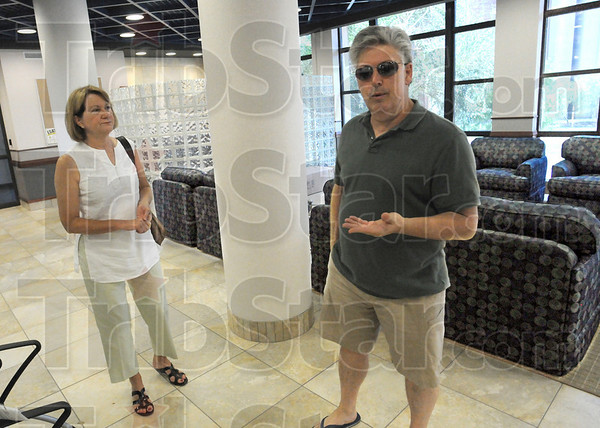 Remember when: Tim Harlan and his wife Kathleen do a walk-through tour of the newly renovated Sandison Hall on the ISU campus Wednesday afternoon. Harlan was dorm director of Sandison in 1976 and was curious to see the changes in the facility. He currently is an English instructor on campus.