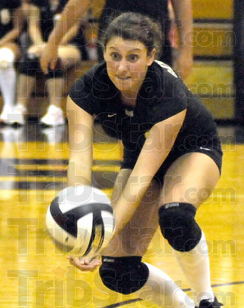 Dig it: South Vermillion's #21, Caitlyn Waldrop bumps the ball to a teammate during Wednesday's match against Terre Haute North.