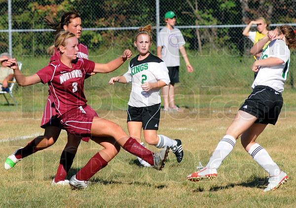 Goal: Northview's #3, Libby Deckard watches the flight of her ball as it zips past a West Vigo defender and into the goal during game action Wednesday afternoon. Northview won 4-0.