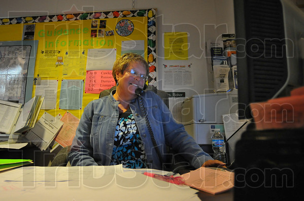 Guiding hand: Marilyn Baker, guidance secretary at Terre Haute South High School is already taking appointments for the upcoming school year.